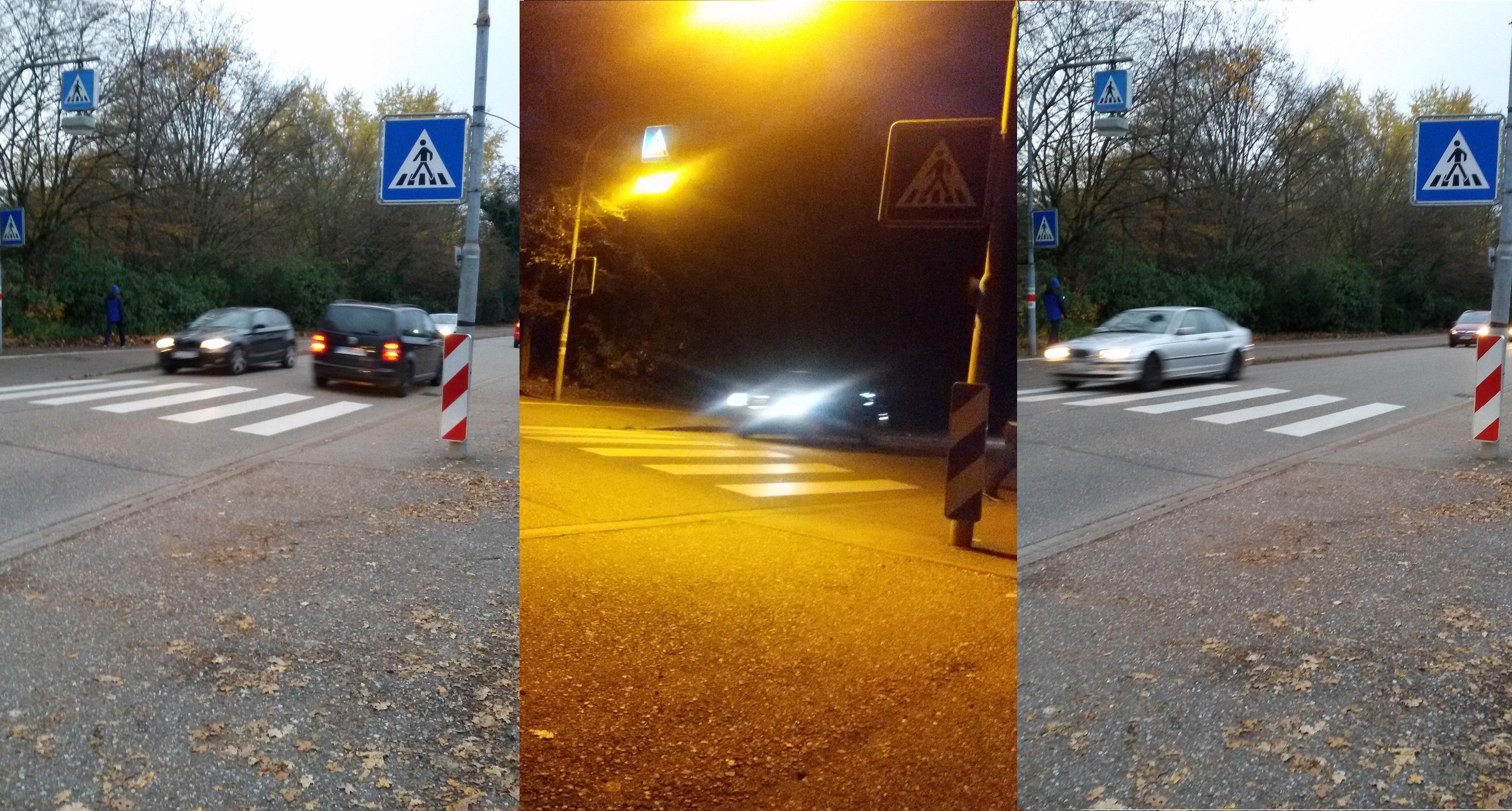 Zebrastreifen bei Nacht und Tag