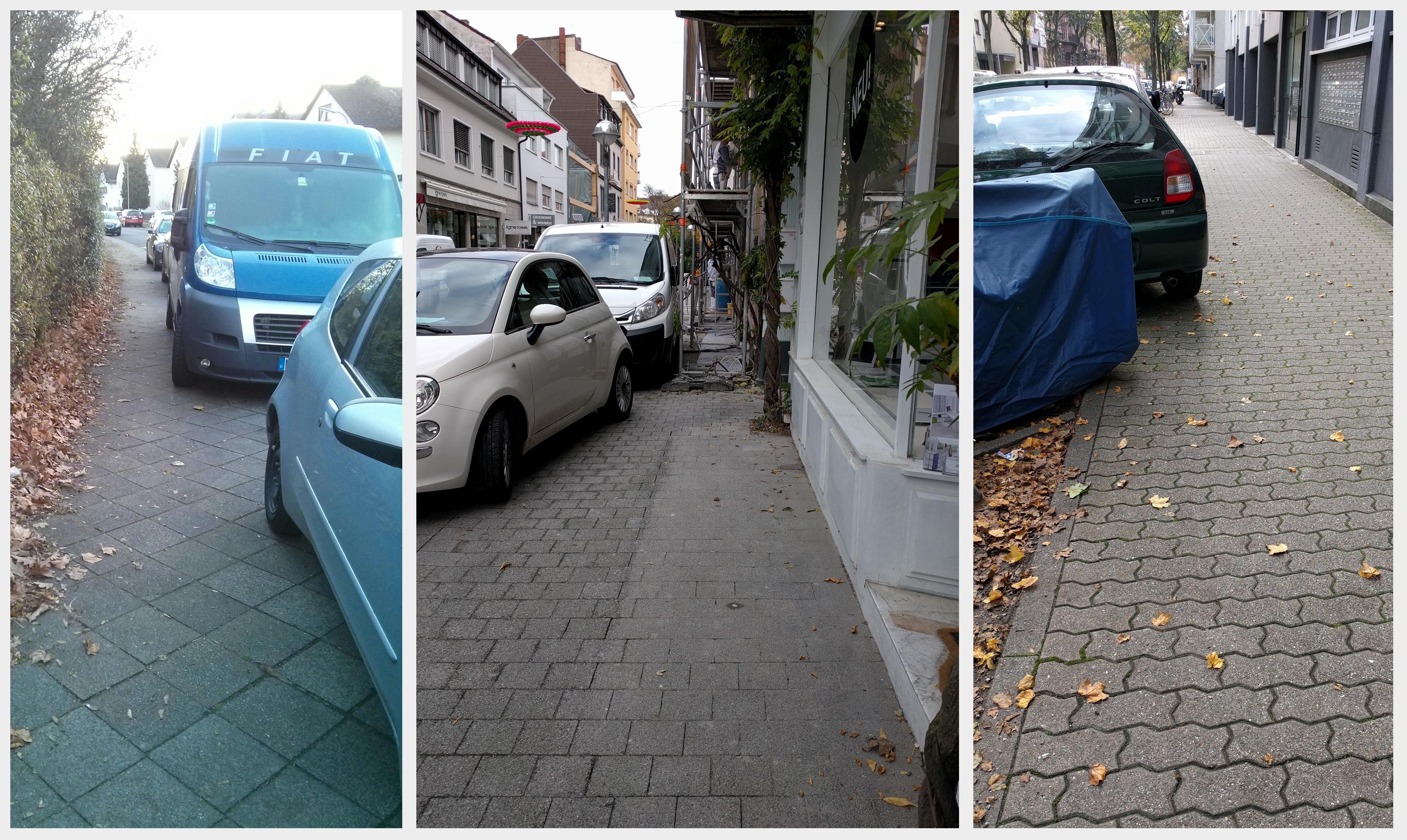 Wo wird der Gehweg durch Gehwegparker zu schmal?
