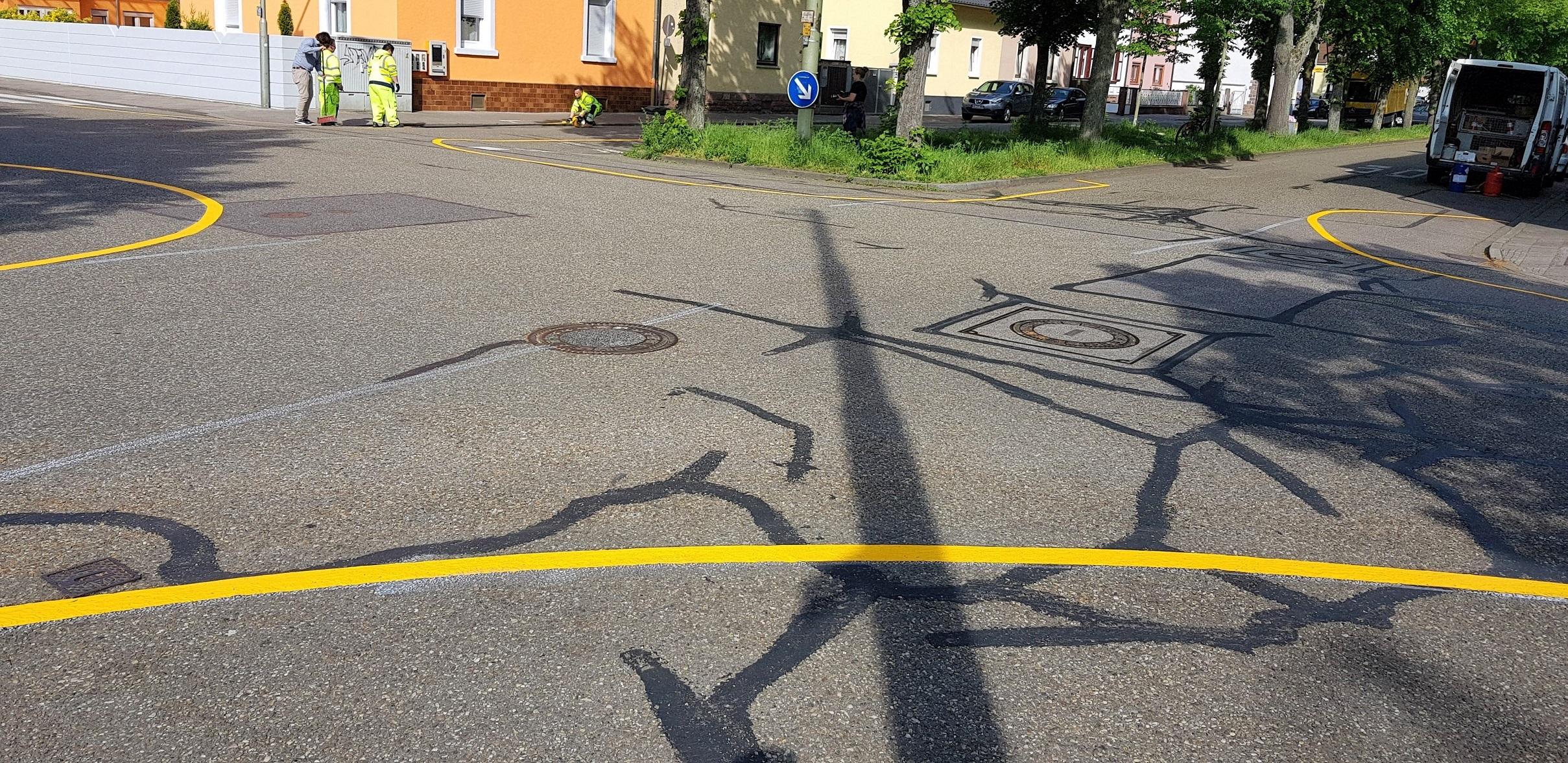 Markierungsarbeiten in Knielingen begonnen